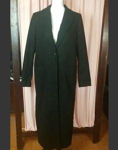 H & M womens long trench coat black 8